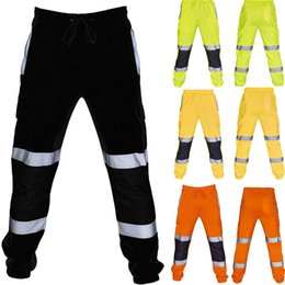 wholesale overalls men Australia - Men pants Sweatpants Casual Road Work High Visibility Splicing Overalls Pocket Trouser Sport Pants streetwear pantalon homme NEW