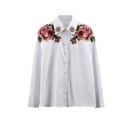 08106575575d White Embroidered Shirt Floral UK - 2019 Spring Summer New G Heavy Work  Embroidered Diamond Retro