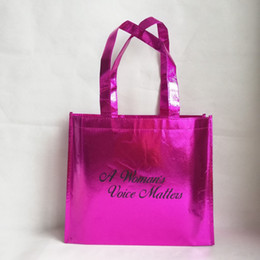 Metallic Tote Bags Wholesale Australia - 500pcs lot Reusable Rose Metallic PP Packaging Shopping Tote Bags with Your Custom Brand Logo Printed for Trade Show and Advs