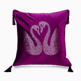 $enCountryForm.capitalKeyWord Australia - Nordic Europe luxury hot drilling swan cushion pillow cover add tassel velvet home car living room sofa Dec wholesale FG1137