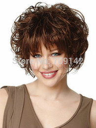 $enCountryForm.capitalKeyWord NZ - Beautiful Brown Full-Volume Curls Wig Kanekalon hair no lace front wigs Free deliver