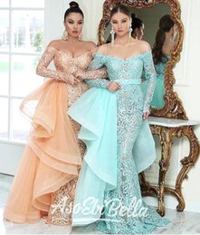 $enCountryForm.capitalKeyWord UK - ASO EBI Fantastic Lace Mermaid Evening Dresses With Removable Overskirt Elegant Off Shoulder Sheer Appliques Long Prom Pageant Gowns BA9923
