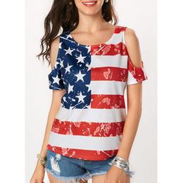 Off Shoulder T Shirts Design Australia - Women's American Flag T-Shirt Vogue Shoulder Off Wide Hem Design Top Shirt 4th of July T Shirt
