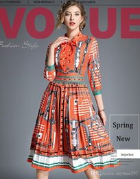 $enCountryForm.capitalKeyWord Australia - Fashion New Spring and Summer Elegant Printing Dresses,Stand Collar,Beauty Pleated Runway Dress,3 4 Long Sleeve