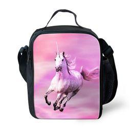 horse cream 2019 - 3D New Cute Unicorn Print Colorful Horse Students School Bag Women Men Lunch bag Picnic Boys Girls Lunch Box cheap horse