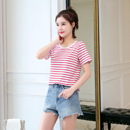 $enCountryForm.capitalKeyWord Australia - Fat Women T-shirt Short Sleeves New Summer Garment 2019 Loose Pure Color Stripe T-shirt Pure Cotton Half Sleeve