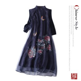 $enCountryForm.capitalKeyWord Australia - 19 Autumn Elegant New Silk Ogan Yarn Dresses with Retro-printed Collar, Slant Butterfly and Peony Embroidery