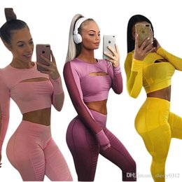 long sleeve yoga tops Canada - Sports Tracksuit Women 2019 Hollow Out Mesh Long Sleeve Crop Top and Leggings 2 Piece Fitness Women Yoga Set Sexy Gym Wear Running Clothes