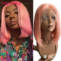 $enCountryForm.capitalKeyWord Australia - Pink Short Bob Human Hair Wigs For Women Remy Hair Straight Lace Front Wig 150% Density