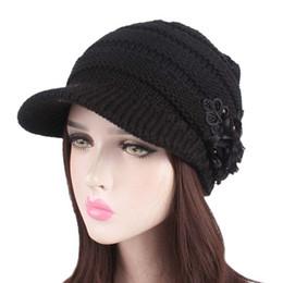 Womens Knit Beret With Flower Wool Blend Visor Hat Newsboy Hat Girls Baggy Beanie  Cap 5 Colors New 3a1e88b8d240
