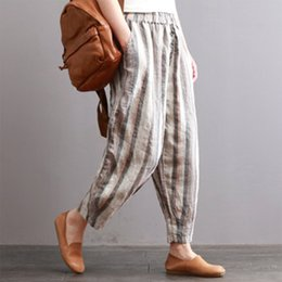 $enCountryForm.capitalKeyWord Australia - Zanzea Autumn Office Ladies Harem Pants Casual Elastic Waist Vertical Striped Pockets Buttons Cotton Linen Full-length Trousers Y19071701