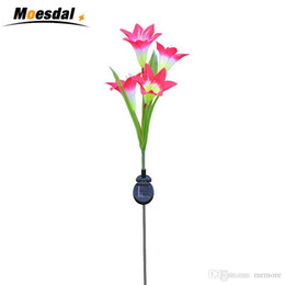 c6c81c7b21bd98 Moesdal Outdoor Solar Garden Stake Lights Solarmart Solar Multi-color  Changing LED Powered Lights with 4 Lily Flower