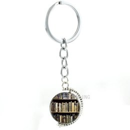 double rings chains UK - TAFREE Double sides Book Shelf photo keychain vintage Bookshelf School Library students teachers key chain ring Teacher's Gifts T278