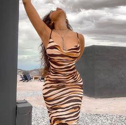 Wholesale ankle length leopard print dresses for sale – plus size Summer Womens Leopard Bodycon Dresses Spaghetti Strap Skinny Sleeveless Dresses Sexy Low Cut Slim Dresses