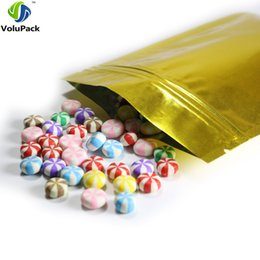 heat sealing food bags Australia - High Quality 16x24cm(6.25x9.5in) 100pcs Glossy Gold Heat Sealing Foil Mylar Flat Pouches Zip Lock Packing Bag Food Storage Bag