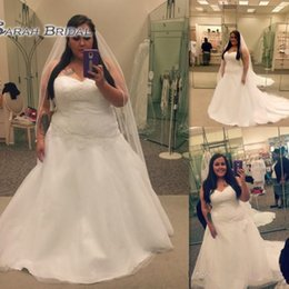 China brides gowns online shopping - Elegant Lace Up Plus Size Wedding Dress Sweetheart Custom Made Cheap China Bridal Gowns Lace Appliques Bride Dress