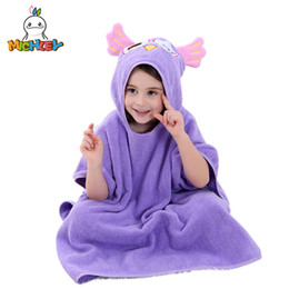 $enCountryForm.capitalKeyWord Australia - MICHLEY Children Bathrobes Hooded Shawl Cartoon Pajamas Kids Cute Animal Ear Bath Robes Baby Cotton Dry Beach Towel Blue WED