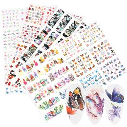 decor designs Australia - ail Art Stickers & Decals 12pc Set Butterfly Letter Stickers Nail Art Water Transfer Decals Flower Girl Design Foils Manicure Decor S...