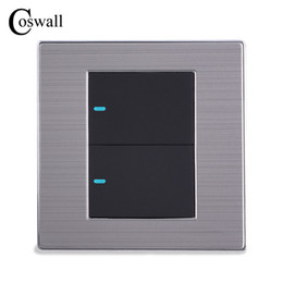 led touch button switch Australia - LED Light 2 Gang 1 Way fashion Switch Push Button Wall Switch Interruptor Brushed Silver Panel 10A AC 110~250V
