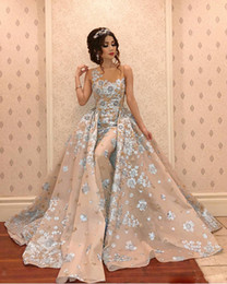 Embroidery Dress Sheer Australia - 2019 Mermaid Evening Dresses With Detachable Skirt Sheer Jewel Neck Sweep Train Gorgeous Prom Dress Custom Made Formal Party Gowns