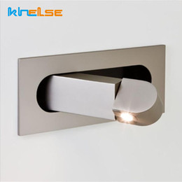 Venta al por mayor de Dormitorio integrado Luz de pared LED para interiores Lámpara de lectura junto a la cama Lámpara de pared plegable empotrada Hotel Cafe Ángulo de luz ajustable