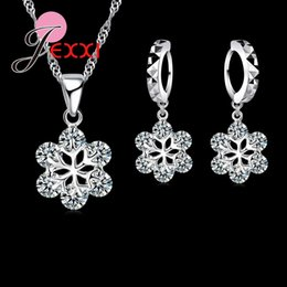 snowflake jewelry crystal set NZ - YAAMELI Trendy Women Snowflake Shape Fine Crystal Necklace Pendant&Drop Earrings Party 925 Sterling Silver Jewelry Sets