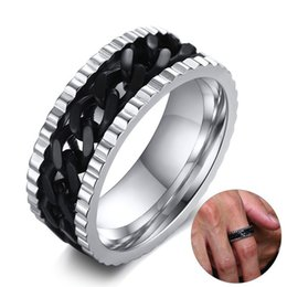 Fashion 8mm Black Biker Chain Spinner Ring Male Mens Stainless Steel Wedding Rings For Men Jewelry Party Gift R-414 Jewelry & Accessories
