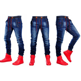 Wholesale jeans blue wash stretch man for sale – denim Designer Elastic Waist Jeans Male Clothing Spring Jogger Pants Stretch Fashion Washed Denim Blue Pants