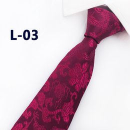chinese tie NZ - 2019 New Arrival New Design Brocade Fabric Festive Chinese Dragon Pattern Wedding Tie Groom Tie Red Black Wine Pink Brown Tie