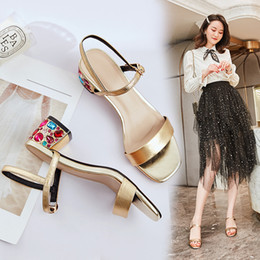 Sandal trend online shopping - Hot2019 One Year Word Bring Coarse With Rhinestone Cowhide Concise Trend Fairy Fund Sandals