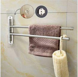 Hot Bar Australia - Hot sales Wholesales Free shipping Brushed Nickel Stainless Steel Self Adhesive Swivel towel Bar Bathroom Towel Rack Swing Hanger Holder