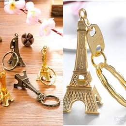 pvc stamp Canada - stamped France Eiffel Paris Tower Keychain Gold Sliver Bronze key ring gifts Christmas Party Favor Fashion Novelty Gadget Gift LXL920Q