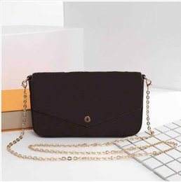 Ladies siLk beLts online shopping - AAA Qualit New Genuine Leather Fashion Chain Shoulder Bags Handbag Presbyopic Mini Wallets Mobile Card Holder Purse M61275 Triple cm
