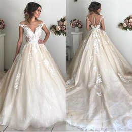 $enCountryForm.capitalKeyWord Australia - 2020 Arabic Off Shoulder Champagne Ball Gown Wedding Dresses Lace Appliques Deep V-Neck Open Back Court Train Plus Size Formal Bridal Gowns
