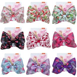 9styles 8inch flamiongo Hair Bows Barrettes Jojo Ribbon Cloth Handmade Hair clips Girl hair accessories Birthday gifts party favor FFA2314-1