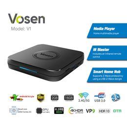 $enCountryForm.capitalKeyWord Australia - Vosen V1 Amlogic S905X2 Android 9.0 TV Box DDR4 2GB 16GB Android9.0 TVbox Dual Band 2.4G 5G Wifi Bluetooth 4K HDR 3D Streaming Media Player