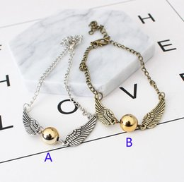 Harry Bracelet NZ - 2 Color Harry Potter snitch gold Bracelet 2019 New fashion Gold Snitch Exquisite Ball Wings Feather alloy hand chain for Women Lady Girl B