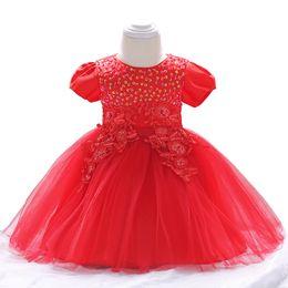 $enCountryForm.capitalKeyWord UK - Hot Elegant Baby Clothes Girl Summer Dresses For Newborn Bow Short Sleeve Outfit 3 6 9 12 Months 1 Year 1st Birthday Princess Y19061001