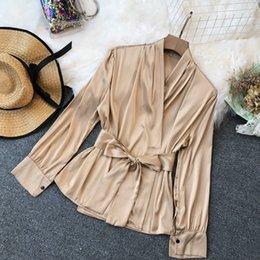 Suits Waistband Australia - New Urban Ladies Poplin V-neck Waistband Blouse Female Satins Sashes Drawstring Lantern Sleeves Shirt Ladies Fashion Top Suits Y190510