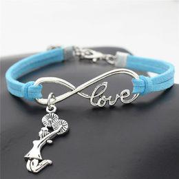 $enCountryForm.capitalKeyWord Australia - 7 Colors Handmade Braided Blue Leather Suede Wrap Charms Jewelry Male Female Infinity Love Cheerleader Cheer Team Girls Bracelets & Bangles