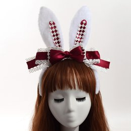 $enCountryForm.capitalKeyWord Australia - Cheap Women's Hair Accessories Women Lolita Head Band Cute Rabbit Ears Bow Lace Hair Band Headwear