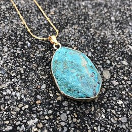 $enCountryForm.capitalKeyWord Australia - New Natural Blue Stone Pendant Earth Necklace Wholesale Gold Steel Chain Bohemia Chic Necklace Stone Gifts Dropshipping J190531