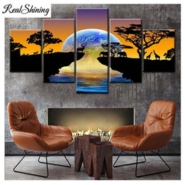 $enCountryForm.capitalKeyWord Australia - 5 pcs Diamond Painting Africa Elephants DIY Diamond Embroidery Sunset landscape 5D Full Square Round Pictures by Numbers FS4871
