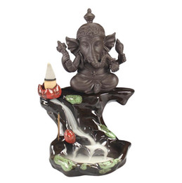 Wholesale Ganesha Elephant Smoke Backflow Censer Elephant Stick Incense Holder for Smell Fragrance Decoration Purple Sand Home Decor