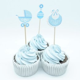 cupcakes baby shower boy Canada - 18pcs Baby Shower Cupcake Toppers pick Baby Shower Favors Party Supplies Decorations Its a Boy Girl Blue pink Game