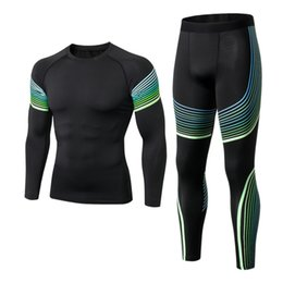 PurPle comPression shorts online shopping - Sports Fitness Tight Men s Compression Run Jogging Suits Clothes Sports Set Long T Shirt and Pants Gym Fitness Workout Tights SH190914