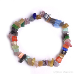 Color Stone Charms Australia - Charm Fashion Honesty Mix Color crystal chips stone beads Handmade BRACELET JEWELRY FINDINGS