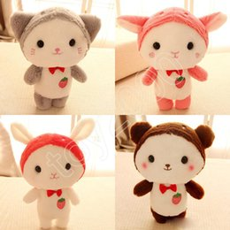 soft toys movies Australia - 25cm Cute strawberry kitten stuffed bunny goat baby doll Soft Stuffed Animal Toys Plush Toys cartoon action figures Stuffed doll kids toys