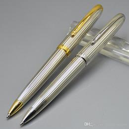 Frete grátis - Top de alta qualidade Carties Marcas Silver Metal esferográfica caneta esferográfica Escrever material de escritório - pode selecionar caixa de presente de luxo em Promoção