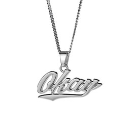 Fashion Initials Pendant Australia - Fashion Hip Hop Gold Chain Mens Necklace Jewelry Letters Pendant Stainless Steel Long 60CM Chains Punk Rock Micro For Men Gift